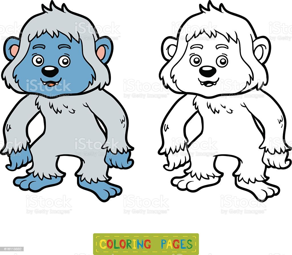 Coloring Book Yeti Royalty Free Stock Vector Art