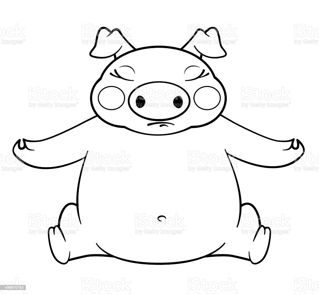 coloring book yoga pig vector art illustration