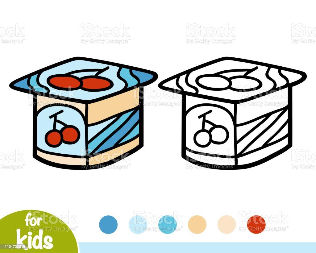 Ilustración De Libro Para Colorear Taza De Yogur Y Más