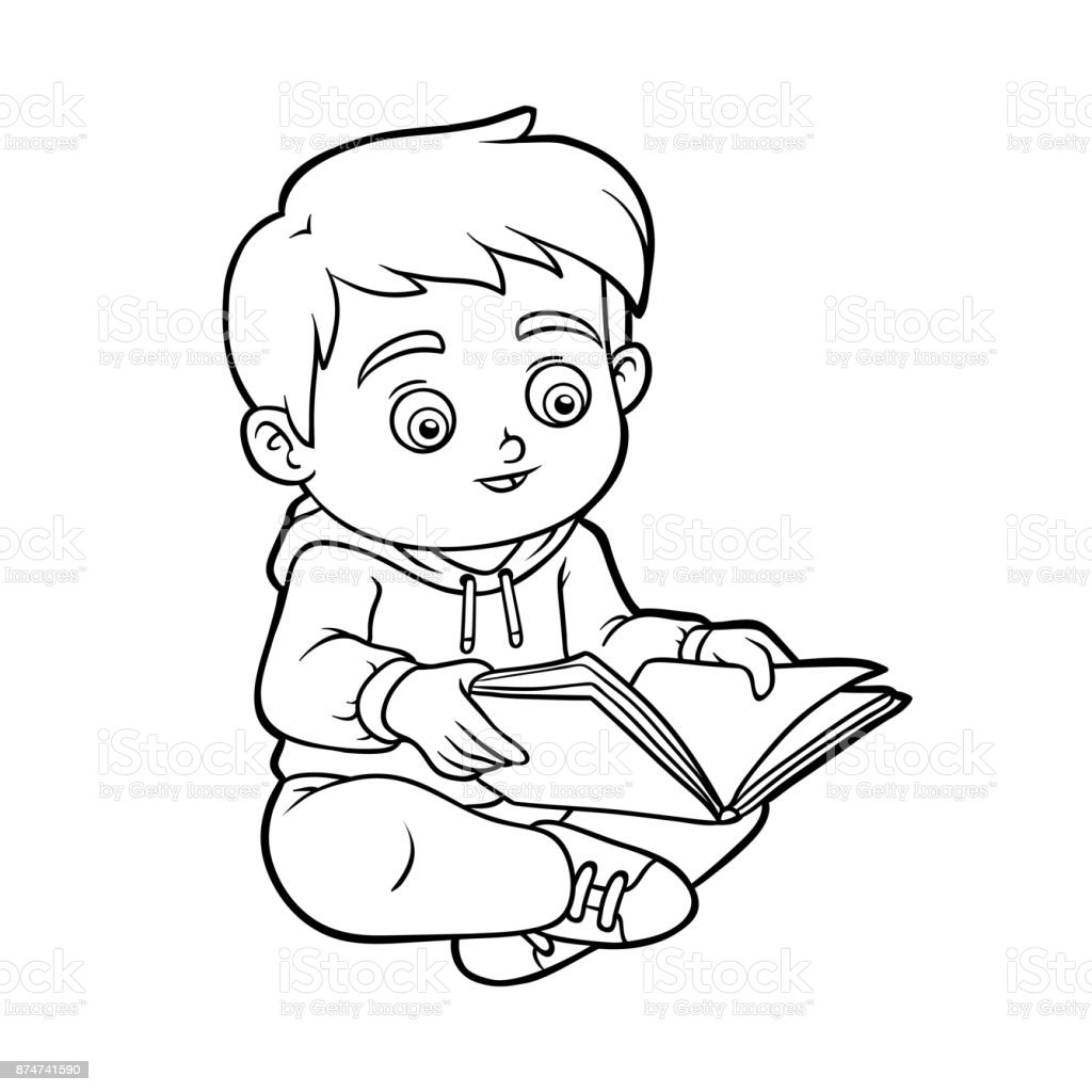 Coloring Book Young Boy Reading A Book Stock Vector Art & More ...