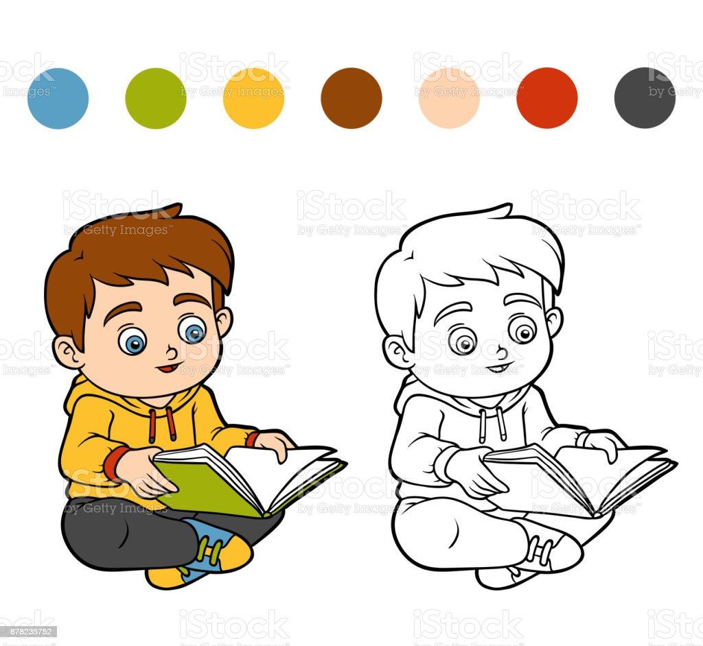 Libro Para Colorear Niño Leyendo Un Libro - Arte vectorial de stock ...