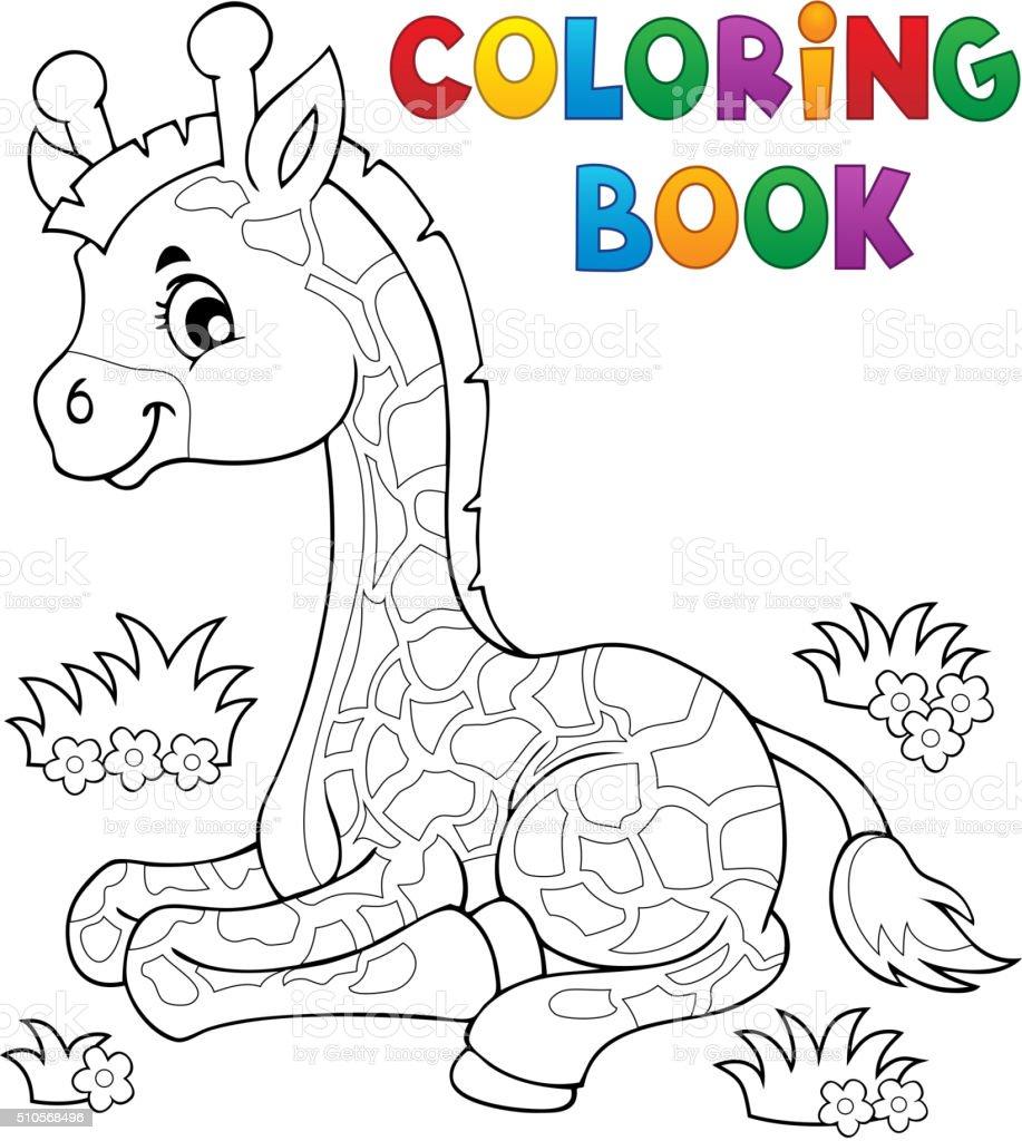 Ilustración de Libro Para Colorear Joven Jirafa Tema 1 y más banco ...