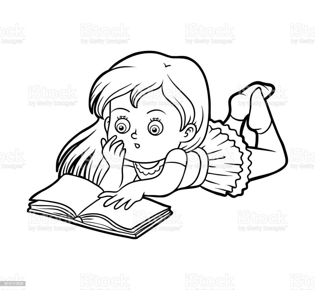 Boyama Kitabı Genç Kız Bir Kitap Okuma Stok Vektör Sanatı Anaokulu