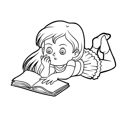 Coloring Book Young Girl Reading A Book Stock Illustration