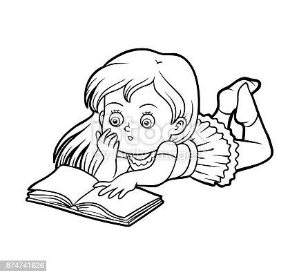 Ilustración De Libro Niña Leyendo Un Libro Para Colorear Y Más Banco