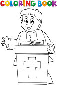 Coloring book young priest topic 2