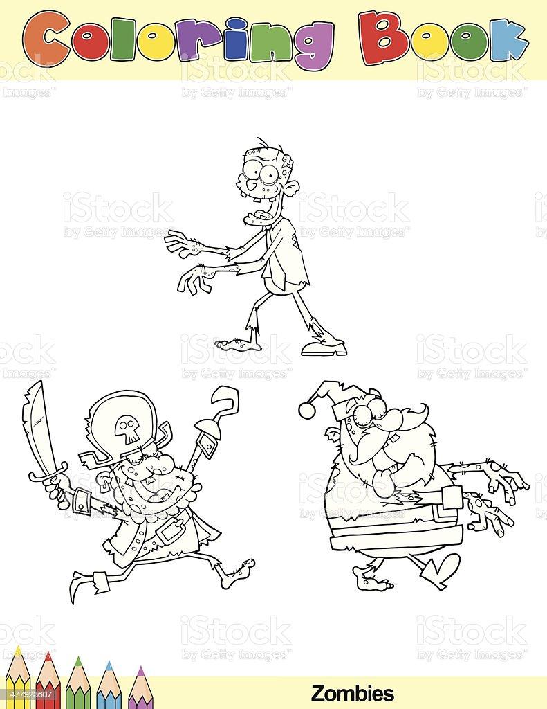 Ilustración de Libro Para Colorear Zombie Historieta Caracteres y ...
