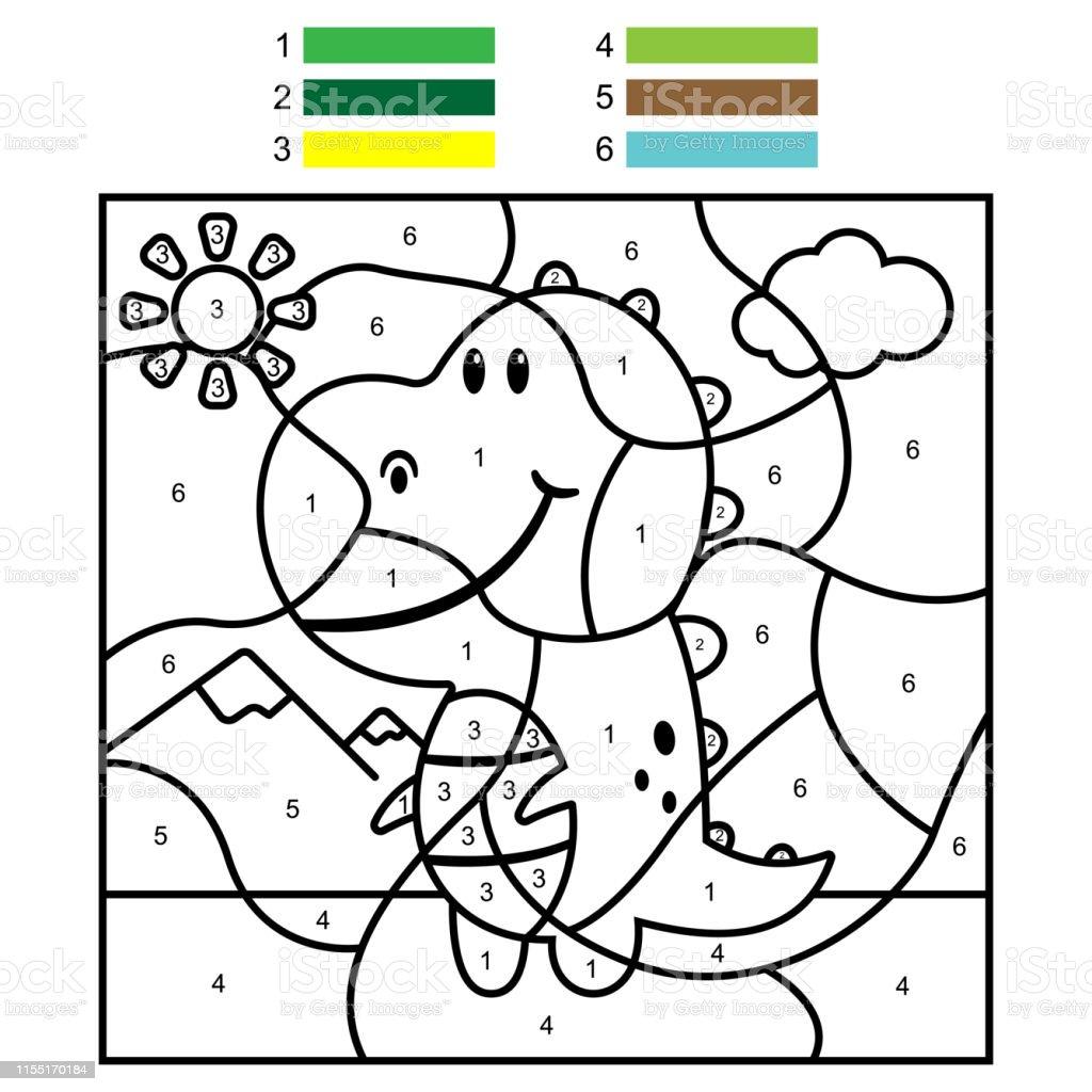 Ilustracion De Colorear Por Numeros Con Un Dinosaurio Lindo