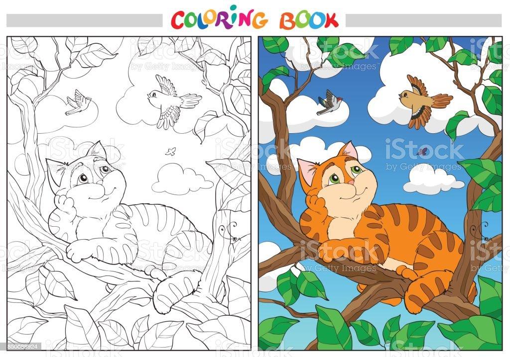 Ilustración de Para Colorear Dibujos Animados Gato Sobre Una Rama Y ...