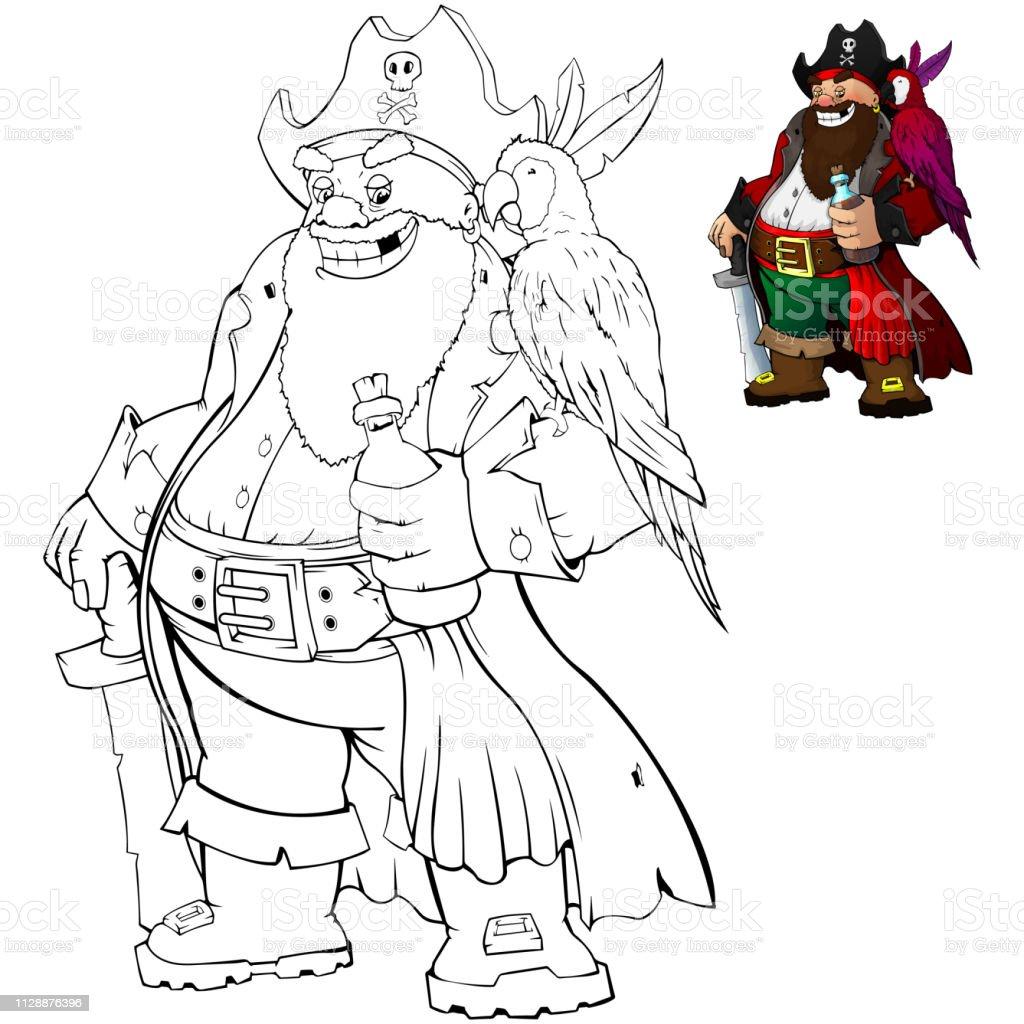 Ilustración De Pirata De Dibujos Animados Para Colorear Con El Ron Y