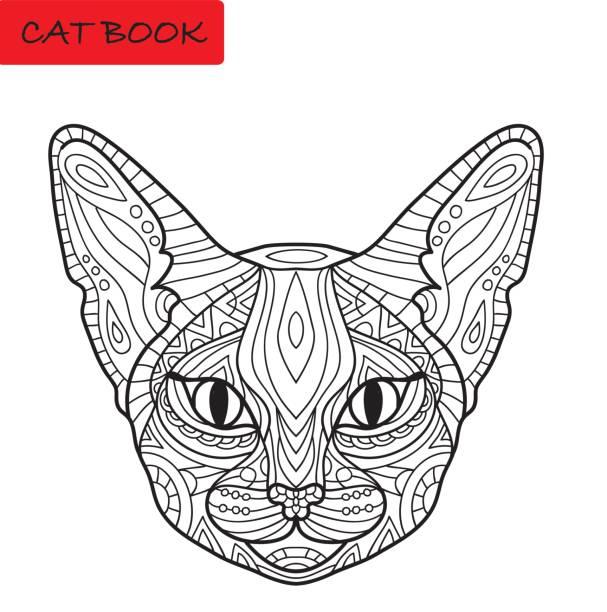 malbuch für erwachsene katze. erstaunliche katzenkopf mit tribal muster. - gartenskulpturkunst stock-grafiken, -clipart, -cartoons und -symbole
