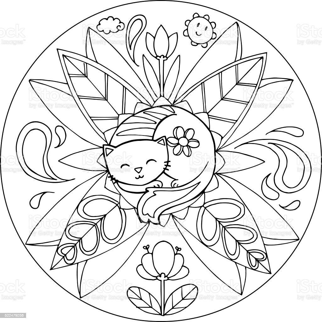Färben Katze Mandala Stock Vektor Art und mehr Bilder von Ausmalen ...