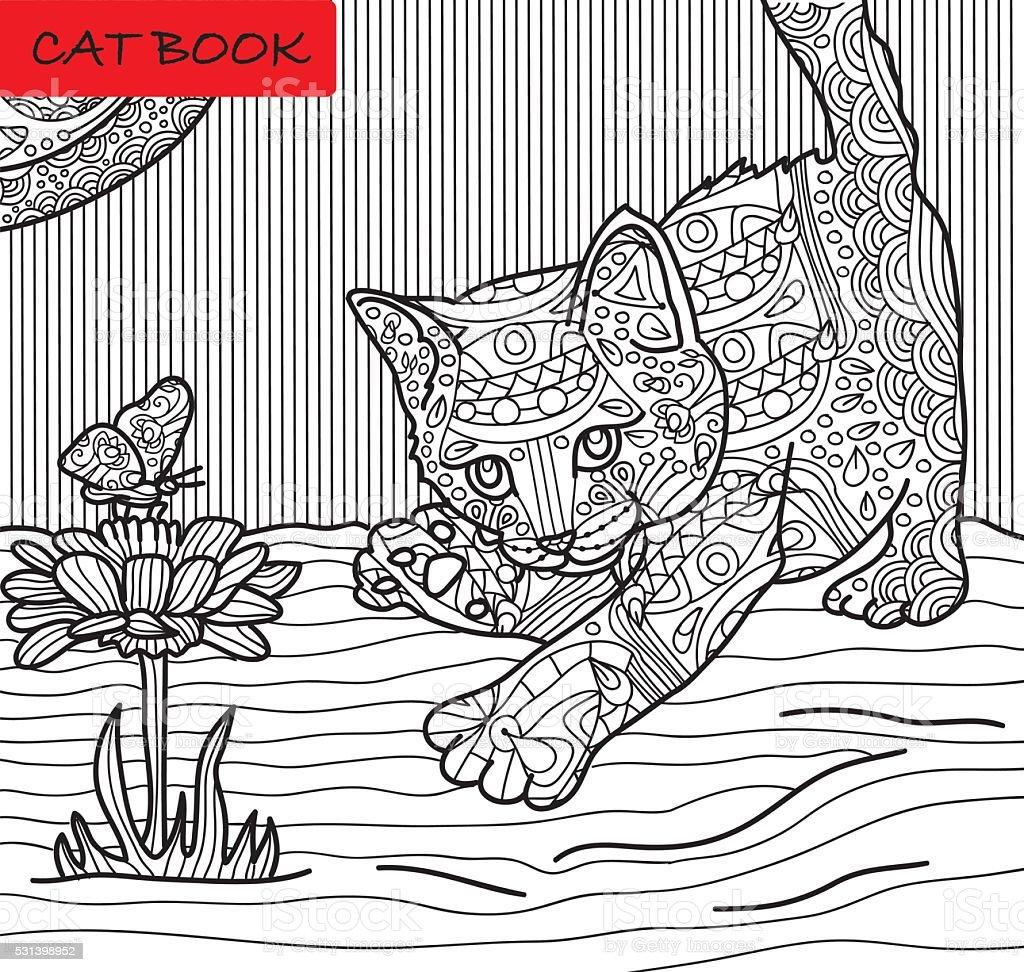 Kot Kolorowanka Strona Dla Dorosłych Stockowe Grafiki Wektorowe I