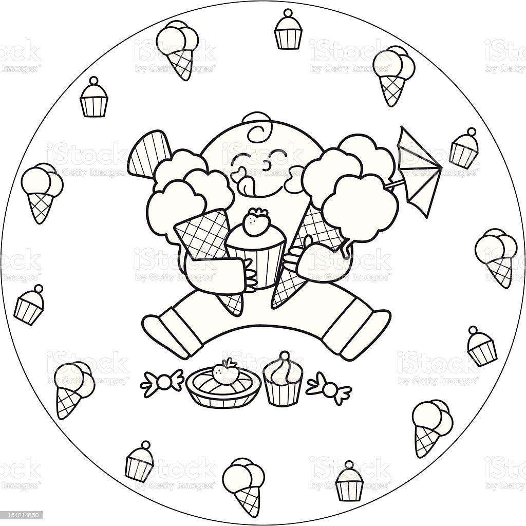 Coloring child eating sweets royalty-free stock vector art