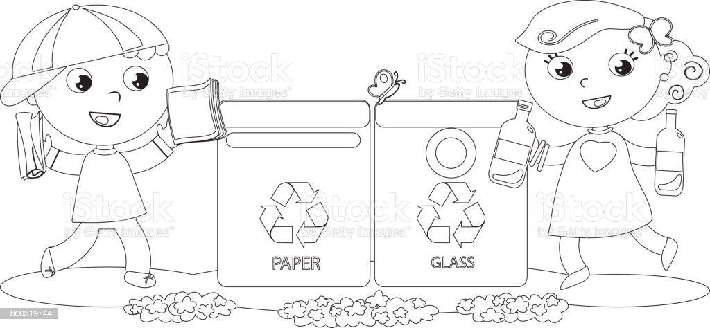 Ilustración De Niños Para Colorear Reciclaje Y Más Vectores Libres De Derechos De Basura