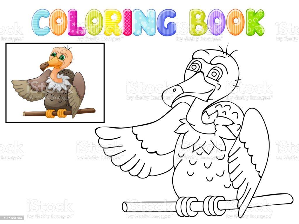 Para Colorear Dibujos Animados Lindo Buitre Aislado En Blanco - Arte ...