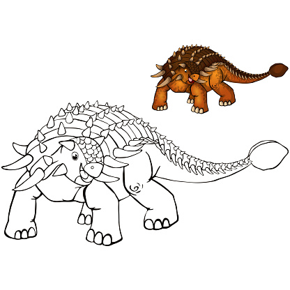 Coloring Dinosaurs Ankylosaurus Coloring For Kids Stock