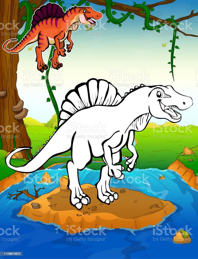 Malvorlagen Dinosaurier Spinosaurus Malvorlagen Für Kinder Stock