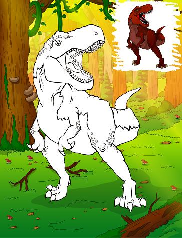 Dinozor Boyama Tyrannosaurus Rex Cocuklar Icin Boyama Stok Vektor
