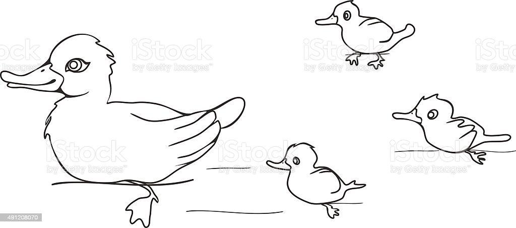 Ilustración de Colorear Con Ducklings Pato y más banco de imágenes ...