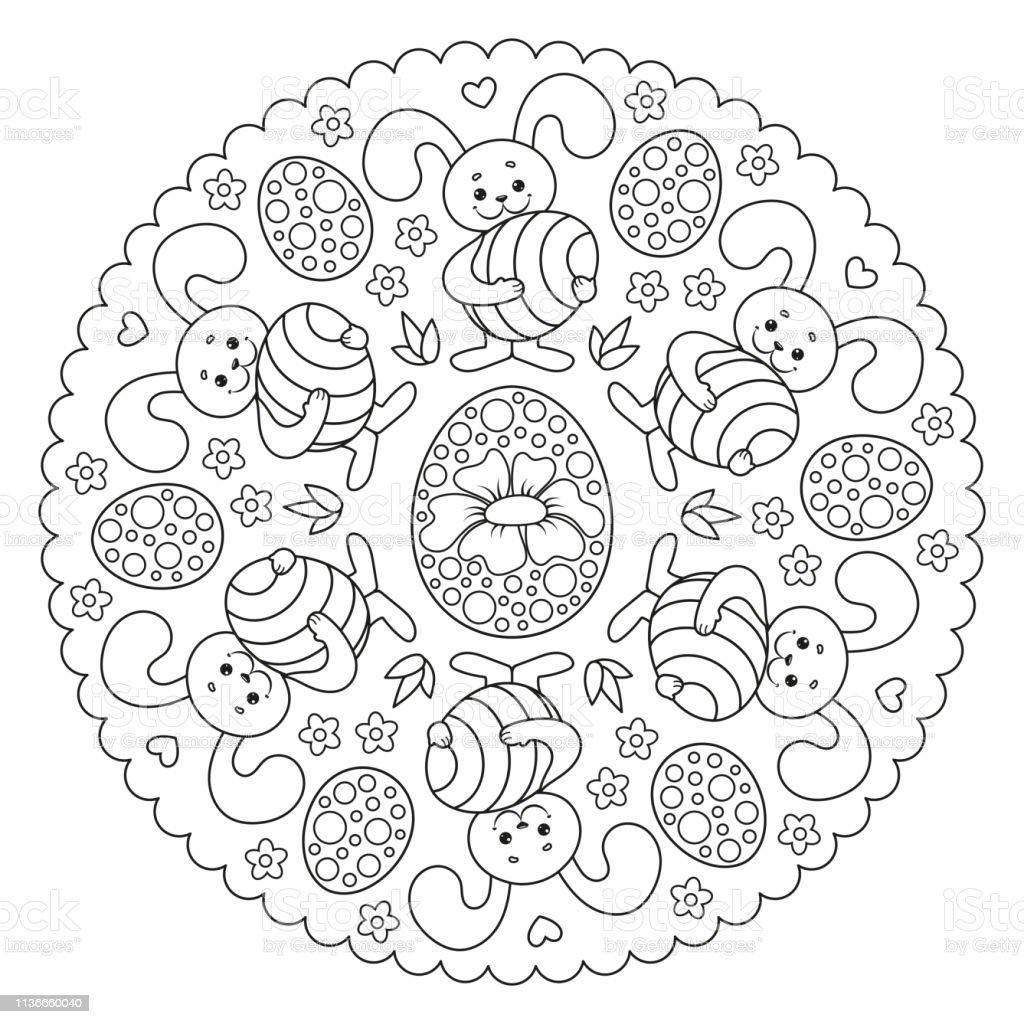 Coloriage Mandala Oeuf De Paques.Coloriage Mandala De Paques Pour Les Enfants Avec Lapin Et Oeuf De