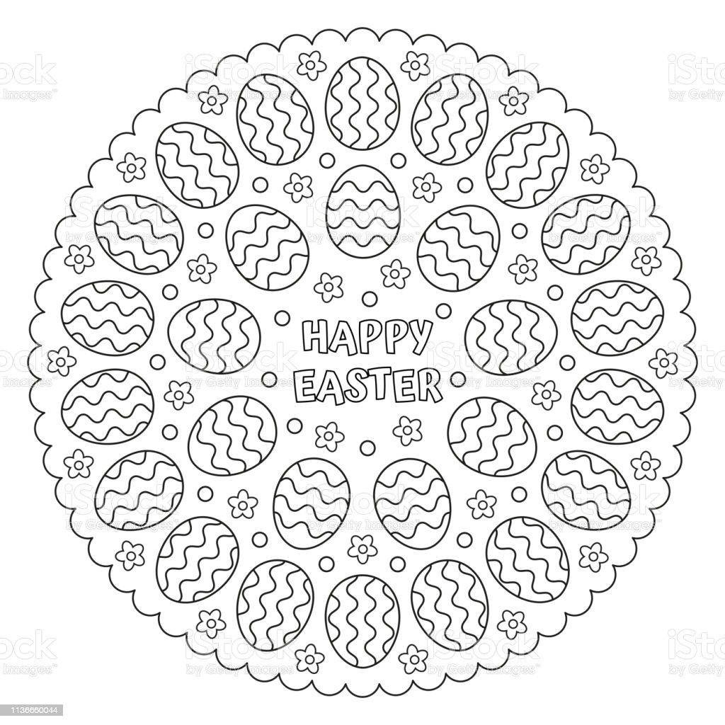 Coloring Easter Mandala With Easter Eggs Vector Illustration Stock  Illustration - Download Image Now