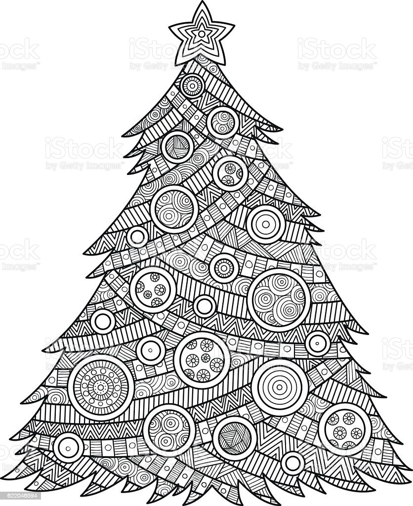 Coloring For Adults Christmas Tree Stock Vector Art & More Images of ...