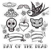 Coloring for adults of Day of the Dead