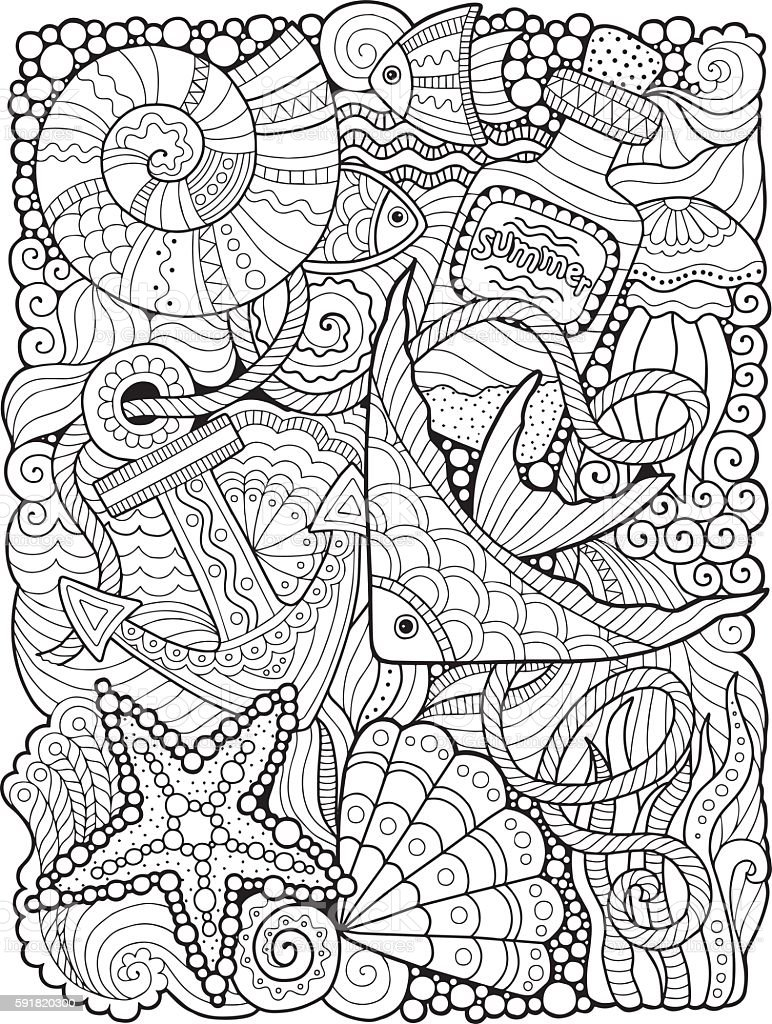 Coloring for adults. Undersea world vector art illustration