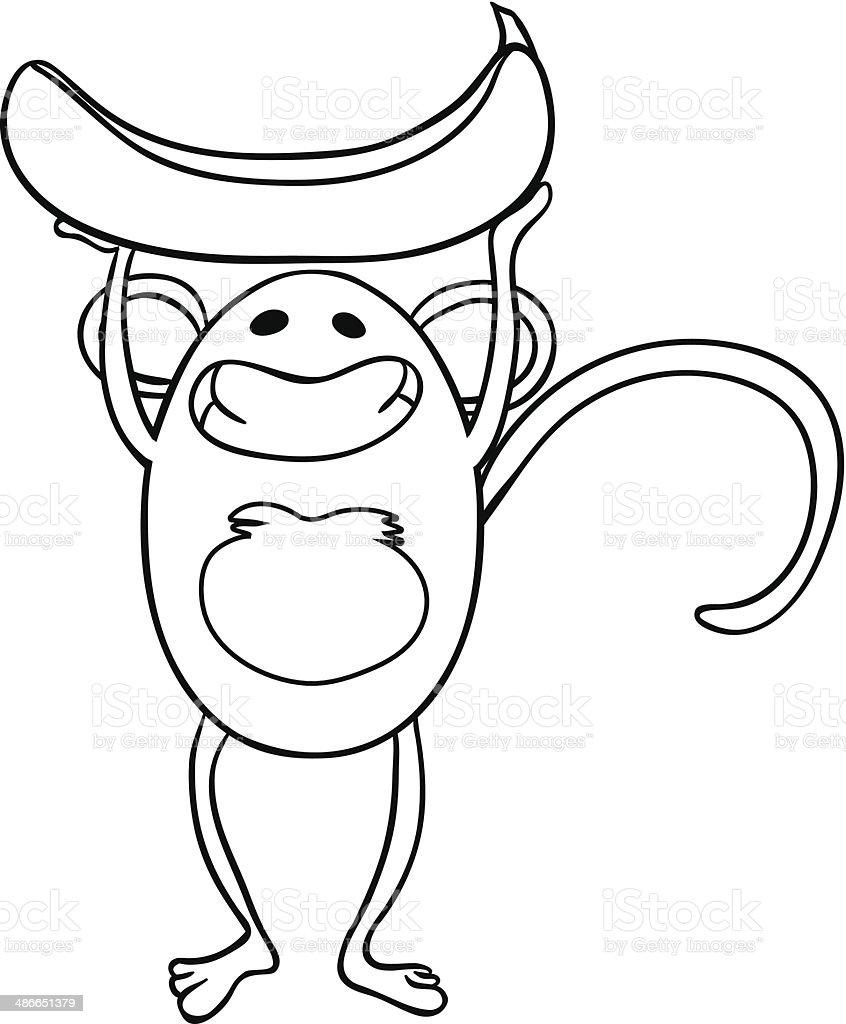 Färben Für Kinder Affe Mit Banane Vektor Illustration 486651379 | iStock