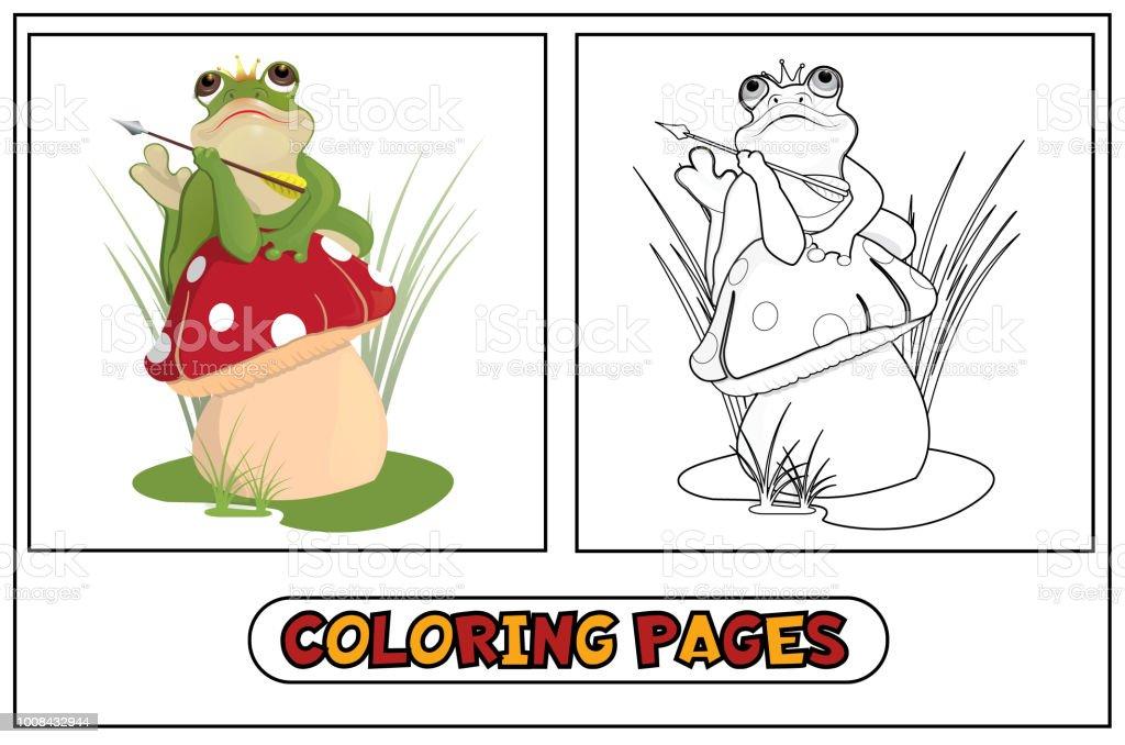 Boyama Kurbağa Prenses Stok Vektör Sanatı Amfibiknin Daha Fazla