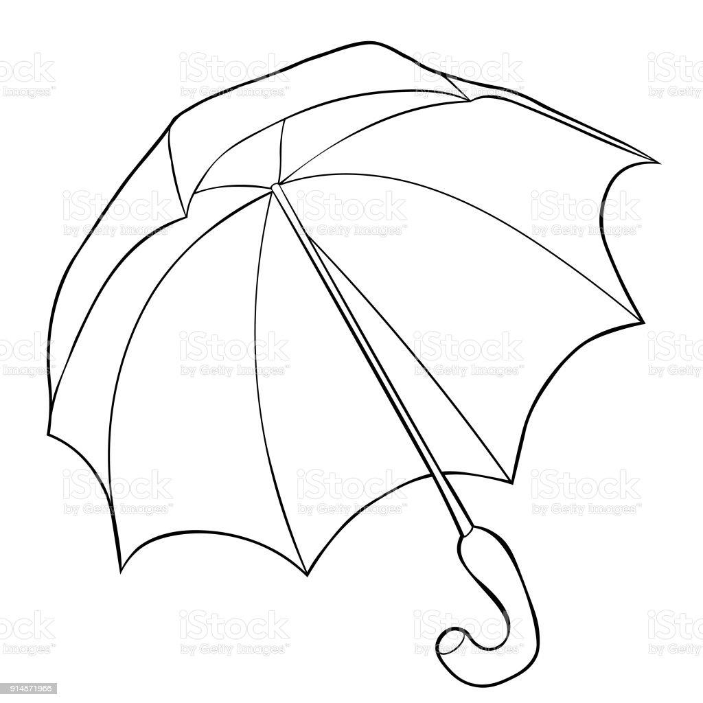 Yağmur şemsiye Alt Görünümünden Boyama Vektör çizim Stok Vektör