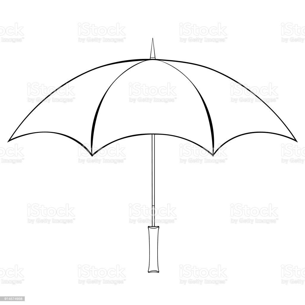 Yağmur şemsiye Yan Görünümden Boyama Vektör çizim Stok Vektör Sanatı