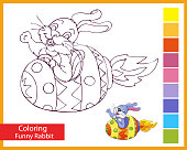 Coloring funny easter rabbit. Children's arts game. The rocket is similar to the Easter egg. Cute bunny with Easter egg. Entertainment for children. Drawing contour for coloring. Vector illustration.