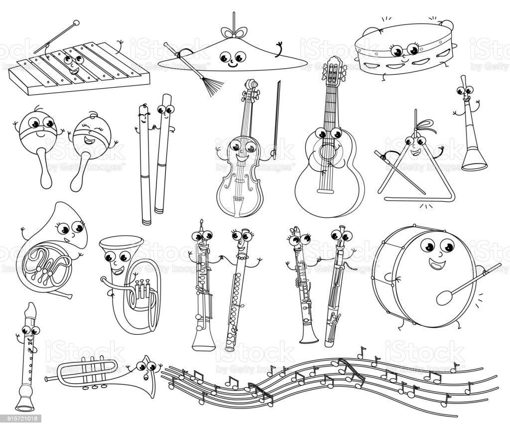 Komik Müzik Aletleri Vektör çocuklar Için Boyama Stok Vektör Sanatı