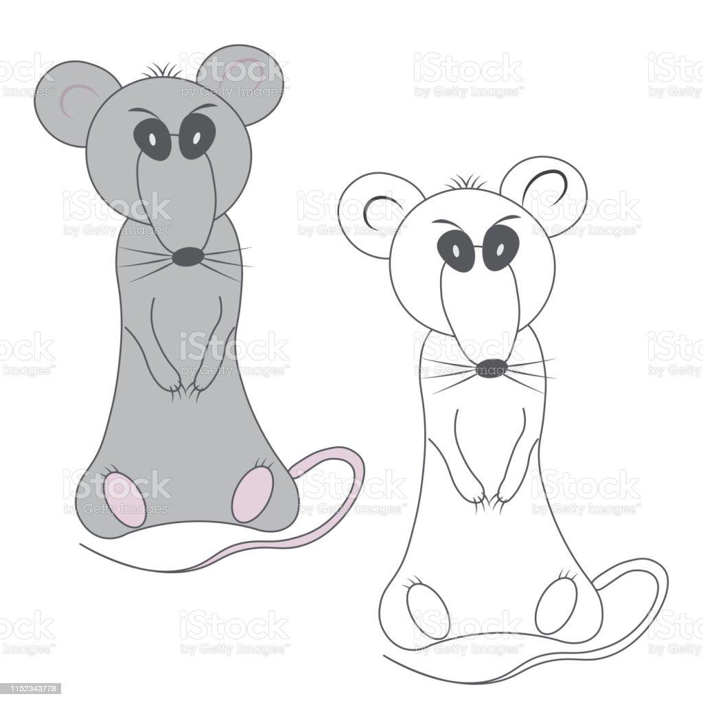 Coloriage Gris Sombre Mecontent Rat Et Silhouette De Contour Non Peinte Dans Le Style De Dessin Anime Sur Un Fond Blanc Vecteurs Libres De Droits Et Plus D Images Vectorielles De Animaux De