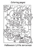 Vector coloring pages little witch cooks a pot of potion. Halloween concept. Cartoon contour illustration isolated on white background. Coloring book for children, preschool education, print and game.