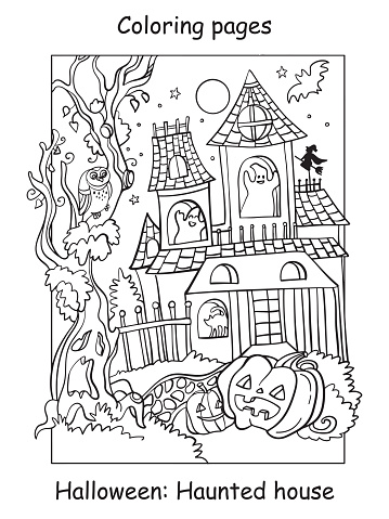 Coloring Halloween funny haunted house with pumpkin