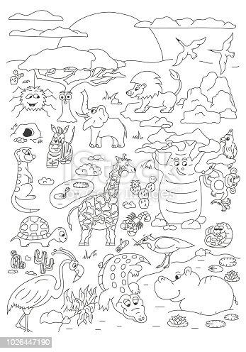 Ilustración de Página Dibujada Mano Con Vector De Animales De Sabana ...