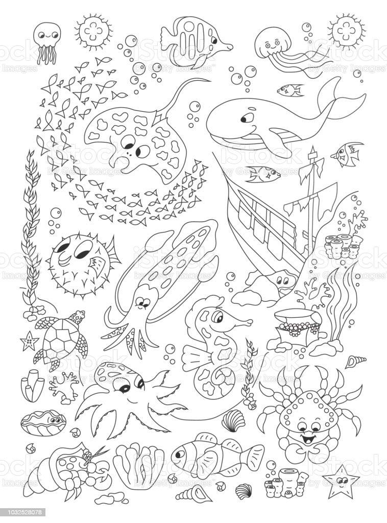 Kleurplaten Dieren In De Zee.Kleurplaten Van De Hand Getekende Pagina Met Schattige Zee
