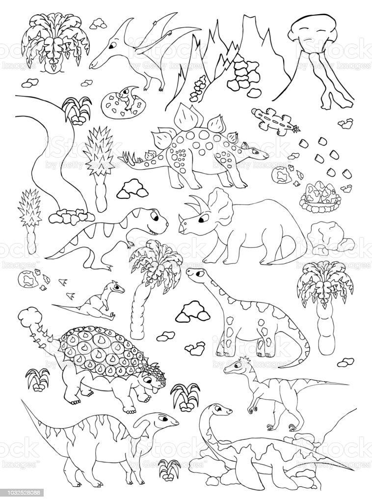 Kleurplaten Vliegende Dino.Kleurplaten Van De Hand Getekende Pagina Met Schattige Vector