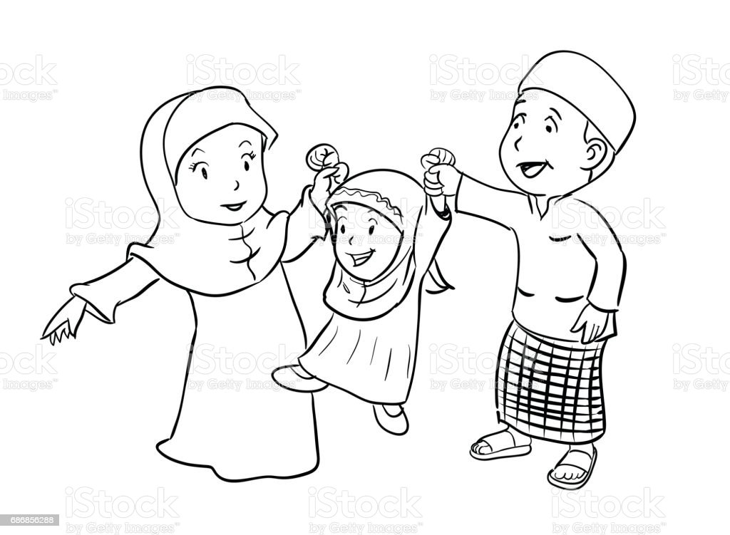 Boyama Mutlu Müslüman Aile Vektör çizim Stok Vektör Sanatı Adamlar