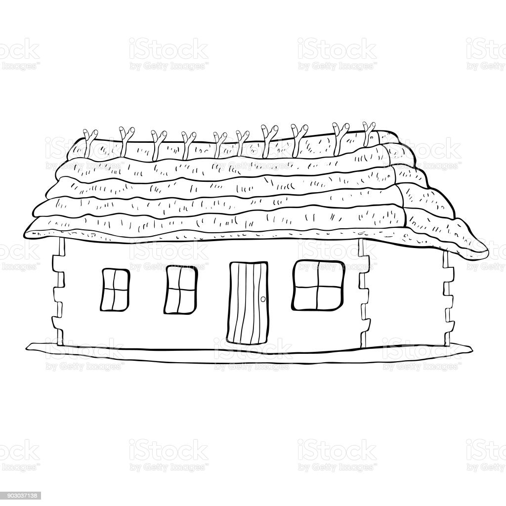 Malvorlagen Haus Mit Strohdach Vektorillustration Stock Vektor Art ...