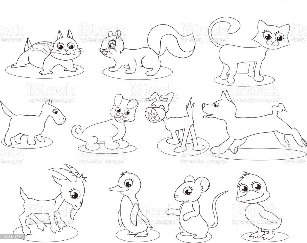Sevimli Hayvanlar Boyama Resimli Stok Vektör Sanatı Animasyon