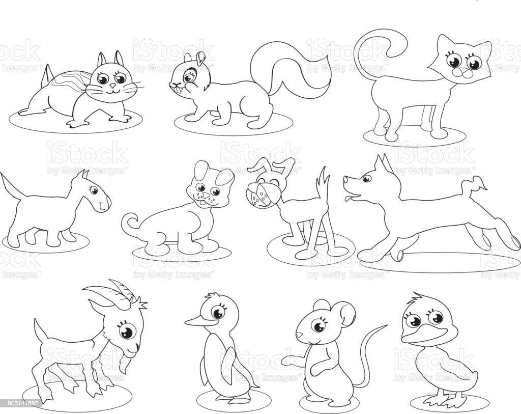 Coloring illustrated cute animals vector art illustration
