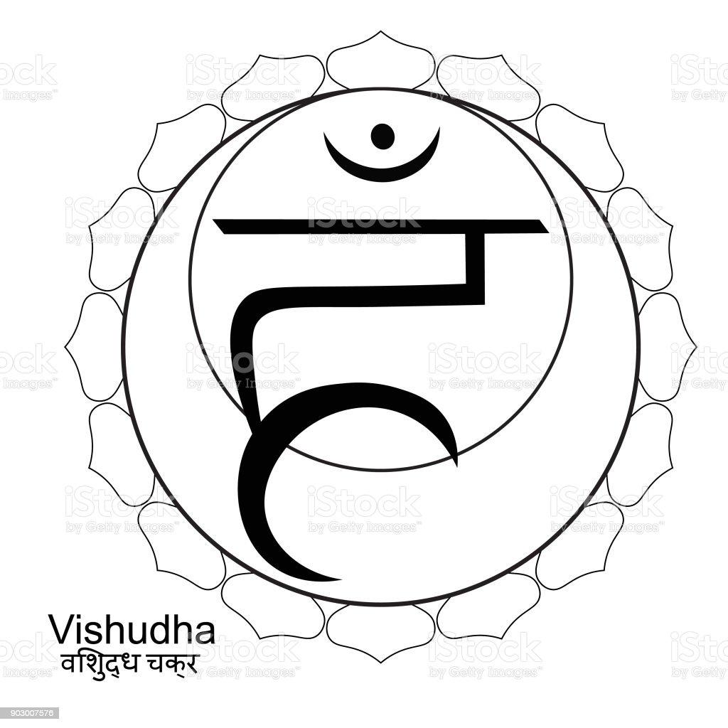 Malvorlagen Indianer Des Vishuddhachakras Vektorillustration Stock ...
