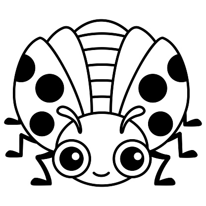 Coloring Insect for children coloring book. Funny ladybug in a cartoon style