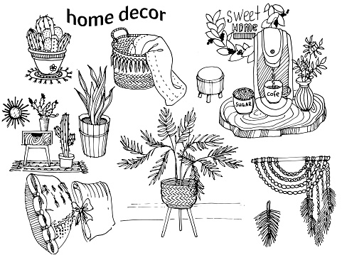 coloring interior decoration elements: cactus in a flowerpot, indoor plants, macrame pan, coffee machine, basket with a plaid, stand.