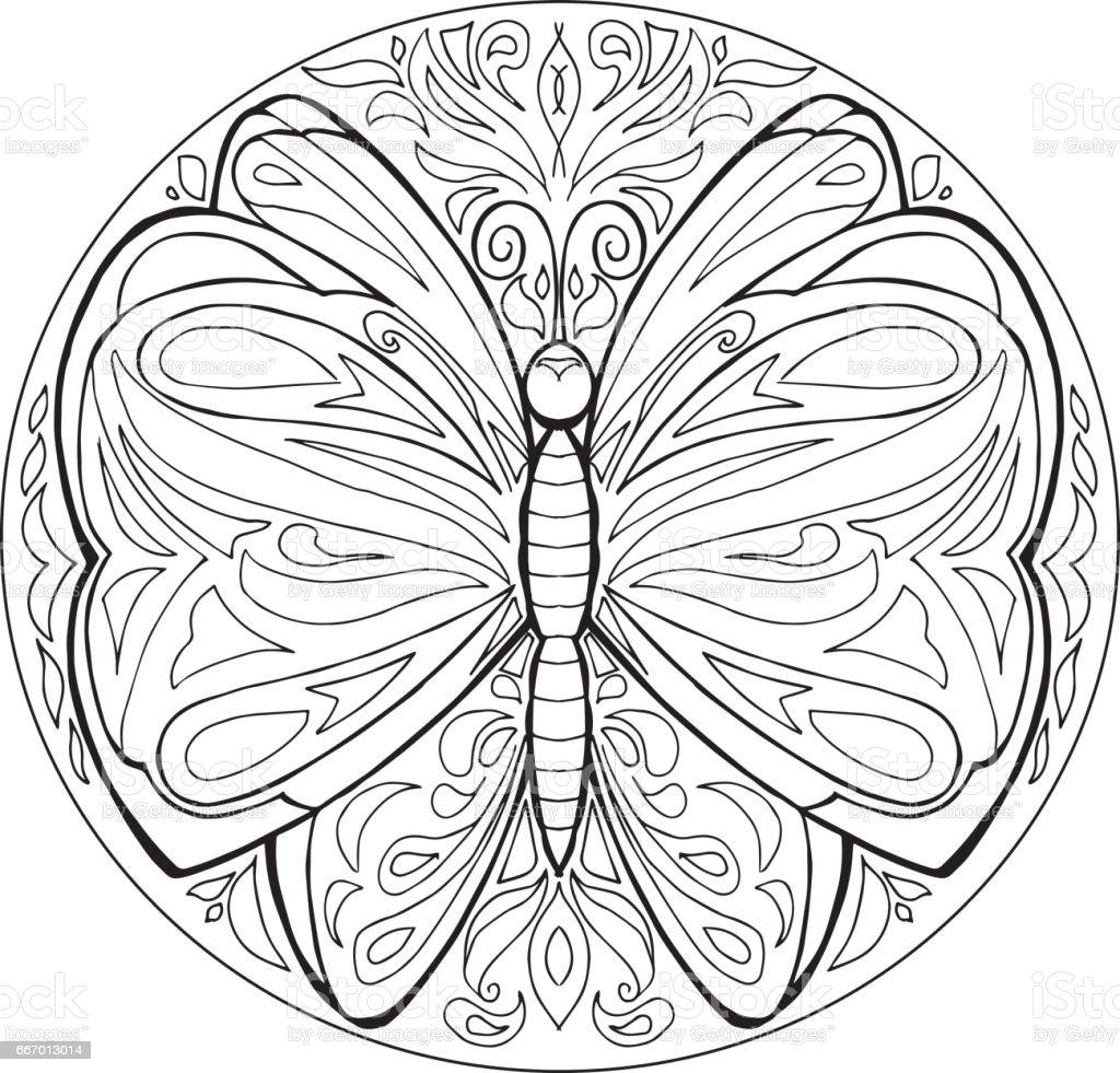 Kelebek Vektor Ile Boyama Mandala Stok Vektor Sanati Bocek Nin