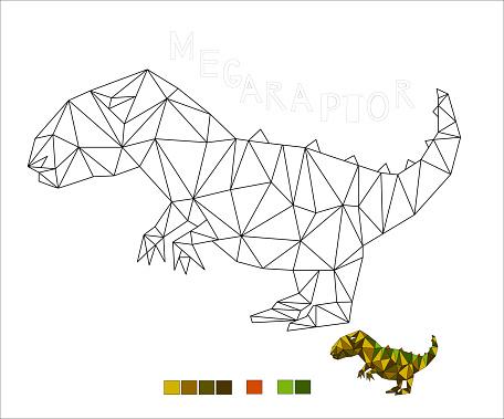 coloring Megaraptor dinosaur vector illustration for kids